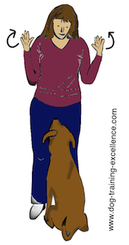 dog training hand signal all done or free by DTE