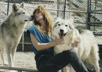 Nicole Wilde dog trainer with her wolfdogs