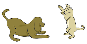 dog and cat playing cartoon